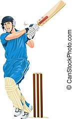 Vector of cricket batsmen playing shot - Vector illustration...