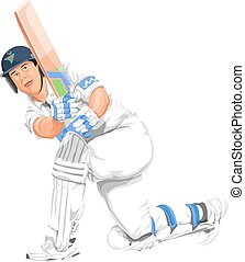 Vector of cricket batsman in action. - Vector illustration...