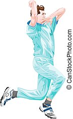 Vector of cricket bowler in action - Vector illustration of...