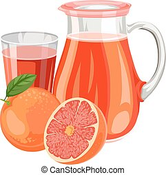 Vector illustration of fresh grapefruit juice. - Vector...