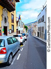 La Orotava, Tenerife - Street with paking cars in the old...