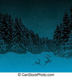 Dark night winter forest blue background with running deers