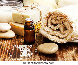 Spa.Natural soap,Essence Oil and Towel - Spa Setting with...