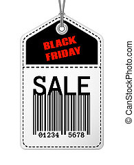 Vintage Black Friday sale tag with stitches Isolated retro...