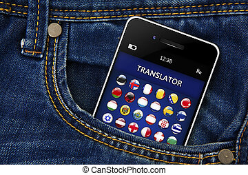 mobile phone with language translator application in jeans...