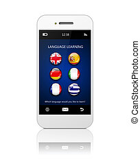 mobile phone with language learning application over white...