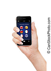 hand, holding mobile phone with language learning...