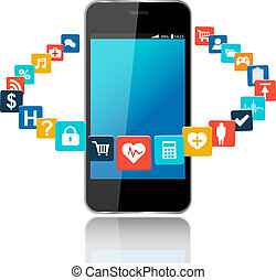 Smart phone with cloud of application icons
