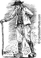 Breton Beggar, vintage engraving.