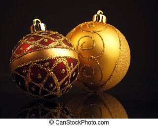 christmas spheres - any nice golden and red christmas balls