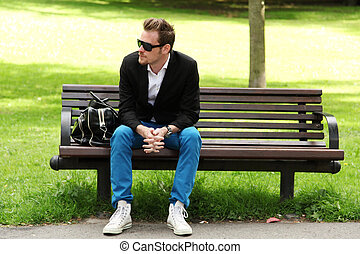 Attractive man with sunglasses - Attractive man in blue...