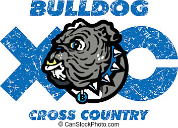 bulldog cross country design with mascot head