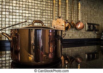 copper Saucepan on the stove