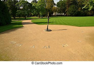 Sundial in Lazienki Royal Park in Warsaw