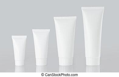 photo of plastic tube isolated on white background