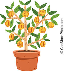 Business illustration of money tree in the pot