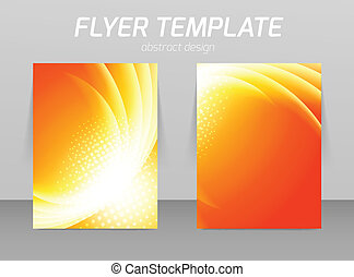 Flyer back and front design template in orange color