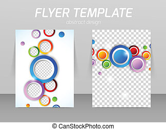 Flyer back and front design template with colorful circles