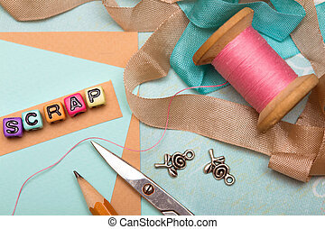 scrapbooking - scrapbook background. Card and tools with...