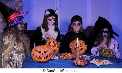 Children In Halloween Costumes Doing Magic - Children in a...