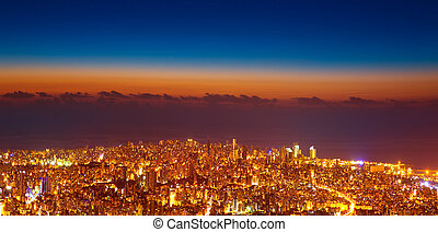Bird eye view of night cityscape - Bird eye view of...