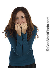 Nervous woman biting her nails - Nervous woman is biting her...