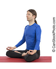 Man doing meditation - Adult caucasian man is in seated pose...