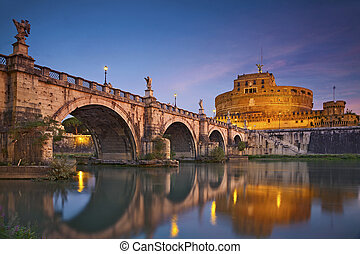Rome. - Image of the Castle of Holy Angel and Holy Angel...