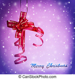 Merry Christmas greeting card, shiny red bow on purple bokeh...
