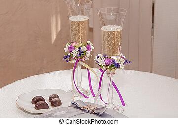 matrimonio,  champagne, occhiali