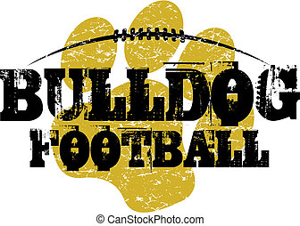 bulldog football design with paw print