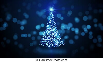 blue christmas tree blurred lights