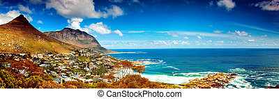 Cape Town city panoramic image, Africa, coastal town near...