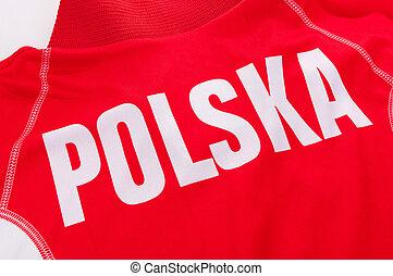 Polska is Poland - White text Poland on red sport shirt