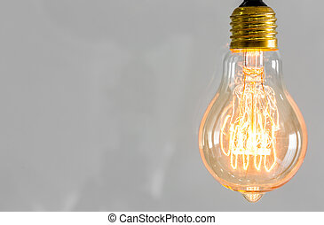 Vintage glowing light bulb