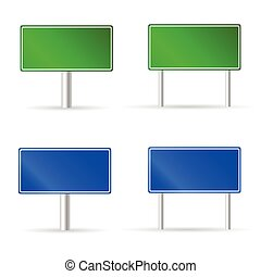 green and blue traffic road sign vector