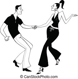 West Coast Swing dancers clip art - Black vector outline of...