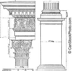 Composite order, vintage engraving.