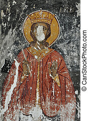 wall painting saint - Weathered wall painting of saint holy...