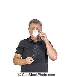 Fumar, bebida, café, hombre