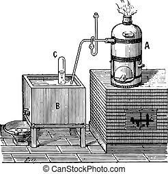Oxygen, vintage engraving. - Oxygen, vintage engraved...