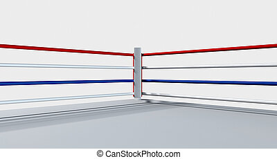 Boxing Ring Isolated White - A regular boxing ring...