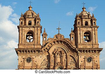 Iglesia de la Compania in Cusco - Ornate facade of the...