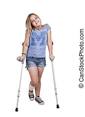 girl with crutches - little girl with crutches isolated on...