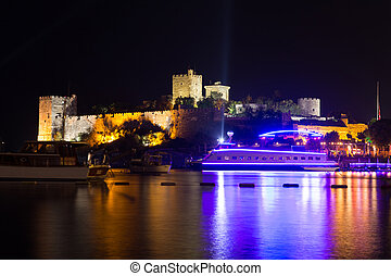 Bodrum Castle at Night in Aegean Coast of Turkey