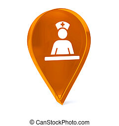 Medical Staff Area - Glass GPS marker icon with white health...