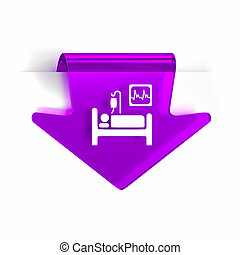 Intensive Care - Glass arrow page marker icon with white...