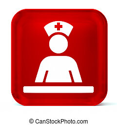 Medical Staff Area - Glass button icon with white health...
