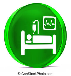 Intensive Care - Round glass icon with white health care...