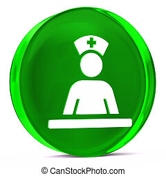 Medical Staff Area - Round glass icon with white health care...